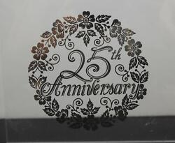 Vintage Clear Glass Silver Pattern Square 25th Anniversary Plate Platter 12 Y16