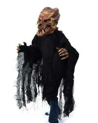 Brown Dinosaur Costume Kit With Back Spikes Gloves Claws And Moving Mouth Mask