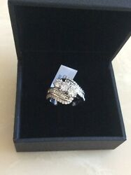 14kt White Gold Three Round Stone With Baguetes Cut Diamond Ring 2.00 Tcw