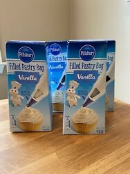 Lot Of 4 Pillsbury Vanilla Filled Pastry Bag Flavored Frosting Ex 07/2020