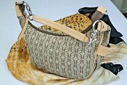 Women#x27;s Fossil Handbag Purse Leather Trim And Canvas Two Side Pockets One Inner