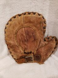 Vintage Circa 1890and039s-early 1900and039s Crescent Pad Baseball Glove Super Cool