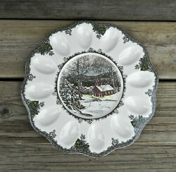 Johnson Brothers The Friendly Village Pattern 11 3/4 Deviled Egg Plate
