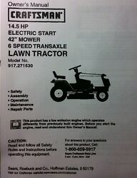 Sears Craftsman 14.5 Hp 6-sp 42 Lawn Tractor 917.270530 Owner And Parts Manual
