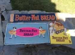 Three 3 Butter-nut Bread Advertising Signs-1 Tin And 2 Cardboard