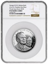 1989-1993 George And Barbara Bush Commemorative 5 Oz Proof Silver Medal Ngc Pf69