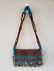 Boutique Wool Crossbody Over Shoulder Purse Multi Color Never Carried $9.00