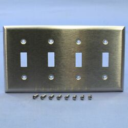 Pands Non-magnetic Type 302/304 Stainless Steel 4-gang Toggle Switch Wallplate Ss4