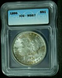 1896 Morgan Silver Dollar Icg Ms 67 High Grade Coin With Great Color