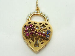 Art Deco Floating Pearl Key To My Heart Pendant 14k Gold W/ruby And Sapphire