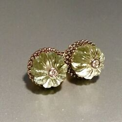 Nwt Lagos Sterling Silver Caviar Forever Green Amethyst And Diamond Stud Earrings