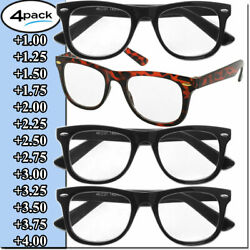 Mens Womens Reading Glasses 4 Pairs Unisex Classic Retro Style Readers All Power $9.95