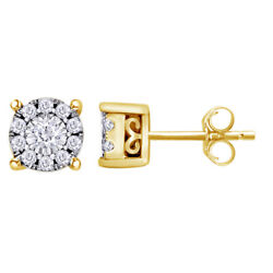 1/2 Cttw Round Diamond Halo Stud Earrings In 14k Yellow Gold Christmas Special