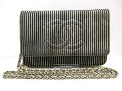 Auth CHANEL DarkNavy White Denim Other Style Wallet