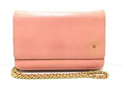 Auth CHANEL Camellia Pink Leather Other Style Wallet