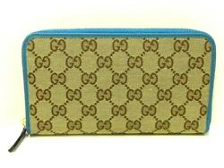 Auth GUCCI GG 363423 Beige Dark Brown Blue Green Jacquard Leather Long Wallet $438.00