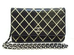 Auth CHANEL Fancy CCWild Stitch A80149 Black Lambskin Other Style Wallet