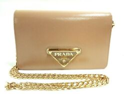 Auth PRADA 1BP012 Beige Saffiano Vernis Patent Leather Other Style Wallet