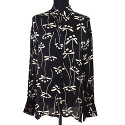 98p 42 Front Opening Cc Button Long Sleeve Tops Shirt Black 02352