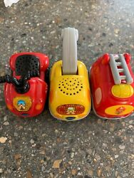 Vtech Go Go Smart Wheels Vehicles Lot Of 3 Fire Truck , Atv And Tow Truck
