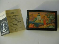 Russian Lacquer Box Vintage Paper Woman Carrying Water Church Handpainted Signed