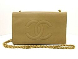 Auth CHANEL Beige Caviar Skin Other Style Wallet