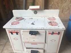 Vintage Empire Metal White/ Red Toy Stove Playhouse