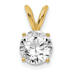 14k Yellow Gold 3/4ct. Round Cert. Lab Grown Dia. Solitaire Pendant Lal7241