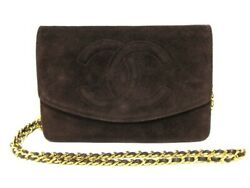 Auth CHANEL DarkBrown Suede Other Style Wallet Gold Hardware