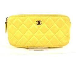 Auth CHANEL Matelasse Yellow Lambskin Other Style Wallet