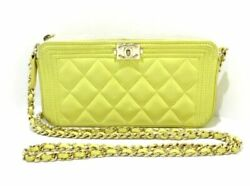 Auth CHANEL Boy Chanel A84069 Yellow Lambskin Other Style Wallet
