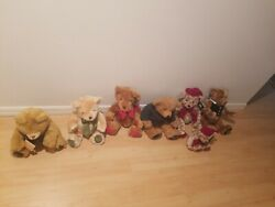 Vintage Harrods 1990's Lot Of 7 Christmas Bears Dated Mint W/tags Limited Rare