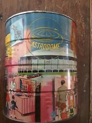 Astrodome Coffee Can 1 Gallon W/ Lid Hard To Find Vintage Free Ship