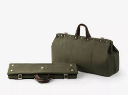 Bespoke Post Weekender Canvas And Leather Bag Army Green Brand New Without Tags