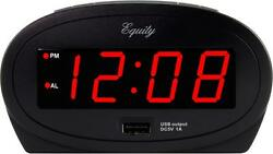 30024 Equity by La Crosse AC Powered 0.9quot; Red LED Display Alarm Clock USB Port