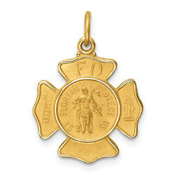 Lex And Lu 14k Yellow Gold Solid Small St. Florian Fire Dept. Badge Medal Pendant