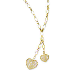14k Yellow Gold Adjustable Heart Drop Necklace Sf1720-16