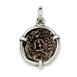 Sterling Silver Antiqued Widows Mite Coin Pendant Qac117