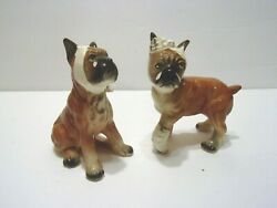 2 VINTAGE BOXER DOG FIGURINES