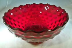 Fostoria Glass Co. American Rare Ruby Red 10 Diameter Footed Deep Serving Bowl