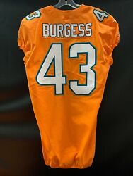 43 James Burgess Miami Dolphins Game Used Team Issued Orange Color Rush Jersey