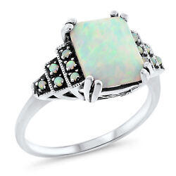 WHITE LAB OPAL ANTIQUE ART DECO STYLE 925 STERLING SILVER RING SIZE 5 #648