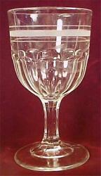 Antique Flutes Fluted Water Goblet Etched Bands Clear Glass Eapg