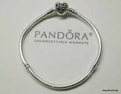 Authentic Pandora Bracelet Family Tree Heart Clasp Snake Chain 598827c01