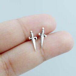 925 Sterling Silver Dagger Sword Knife Weapon Athame Pirate Wiccan Stud Earrings