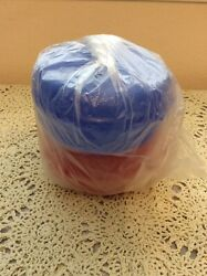 New Tupperware Round Bagel/sandwich Container W/flip Top Set Of 2 Red And Blue