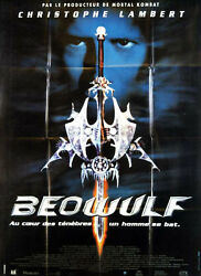 Poster 47 3/16x63in Beowulf 1999 Christophe Lambert, Rhona Mitra, Shoes, Vgc ,