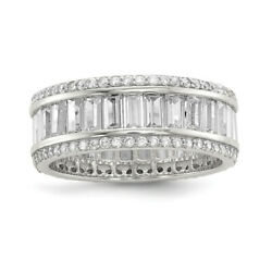Sterling Silver Baguette And Round Cz Eternity Ring Qr6628