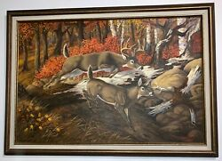 Terry Mclean Canadian Artist Large Oil On Canvas - Buck And Doe 1968