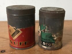 Vtg Antique 1910s Square Snuff Tube Rose Smokeless Tobacco Sweet Powder Tin Cans